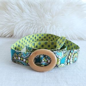 Vera Bradley Fabric Belt Retired Peacock Pattern